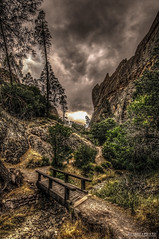 bridge to enlightenment | pinnacles national monument (elmofoto) Tags: california park bridge trees nature northerncalifornia fairytale creek landscape outdoors nationalpark unitedstates hiking path anniversary dream dramatic hike trail fantasy norcal nationalparks hdr highdynamicrange nationalmonument memorialday 500v pinnacles 1000v fav25 tonemapping 5000v 2500v flickraward 7500v flickraward5 flickrawardgallery elmofoto lorenzomontezemolo