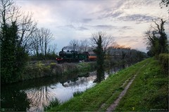 Racing Home to Dublin (bbusschots) Tags: ireland clouds train evening canal dusk rail pathway kildare steamloco photomatix tonemapped kilcock rpsi topazadjust topazdenoise no461