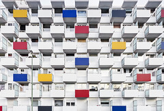 The Balconies (yushimoto_02 [christian]) Tags: blue red house window yellow architecture facade munich mnchen balcony balkon central haus architektur munchen mondrian muenchen fassade