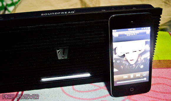 Soundfreaq Sound Kick paired with Ken's iPod Touch