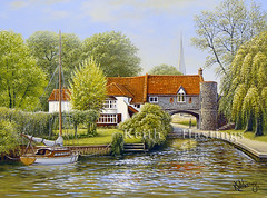 Norwich Pulls Ferry (KEITH HASTINGS) Tags: norwich oilpainting pullsferry riverwensum keithhastings