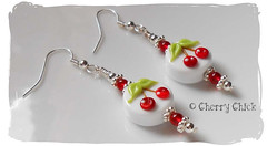 Cherry Lampwork earring (Cherry Chick Jewelry) Tags: red cherry cherries lampwork artisanjewelry cherryearrings beadedearrings handcraftedjewelry lampworkearrings womensjewelry womensearrings cherrychickjewelry