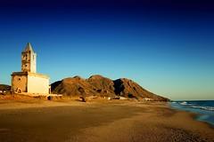 Playa Las Salinas de Cabo de Gata (dubdream) Tags: ocean road sea sky espaa seascape mountains beach church water landscape andaluca day sony clear almera cabodegata colorimage a350 playalassalinasdecabodegata