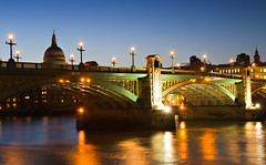 Illuminated Southwark Bridge (Circum_Navigation) Tags: city bridge england london church saint thames skyline night river paul twilight cityscape view cathedral unitedkingdom basilica illumination stpaul illuminated dome bluehour stpaulscathedral riverbank hdr southwark stpaulcathedral southwarkbridge