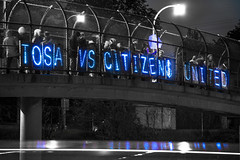 Overpass Light Brigade Milwaukee, Wisconsin 5/10/13. (depthandtime) Tags: wisconsin milwaukee wauwatosa i94 tosa olb 51013 citizensunited movetoamend overpasslightbrigade