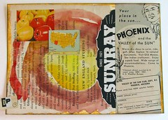 Valley of the Sun (Lydia's Post) Tags: arizona phoenix collage watercolor paperart text vintagead scrapart warmcolors travelad