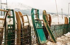 Wooden Sleds (melissaenderle) Tags: kashmir srinagar asia snow