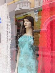 Staring mannequin, shop on Calle de Badillo, Cartagena, Colombia (Paul McClure DC) Tags: mannequin colombia bolvar shopwindow cartagena june2016