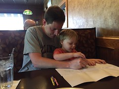"Paul and Daddy Draw Cubes at Smokehouse BBQ • <a style=""font-size:0.8em;"" href=""http://www.flickr.com/photos/109120354@N07/27754675032/"" target=""_blank"">View on Flickr</a>"
