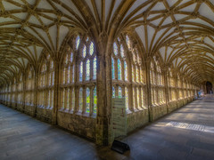 Wells Cathedral Cloister (Wizard CG) Tags: windows light england cathedral britain united great gothic corridor kingdom wideangle wells somerset olympus vault cloister hdr trekker m43 southwestengland epl7