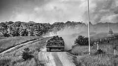 never a dull moment (HHH Honey) Tags: summer bw blackwhite tank military dramatic 49 wiltshire challenger salisburyplain militaryvehicles byway sony70300g silverefexpro googlenikcollection sonya7rii 116picturesin2016 49dramatic