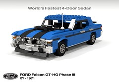 Ford Falcon XY GT-HO Phase III (1971) (lego911) Tags: ford falcon xy gt gtho phase iii v8 cleveland classic 1970s aussie australia motor company shaker sedan saloon bathurst auto car moc model miniland lgeo lego911 ldd render cad povray foitsop