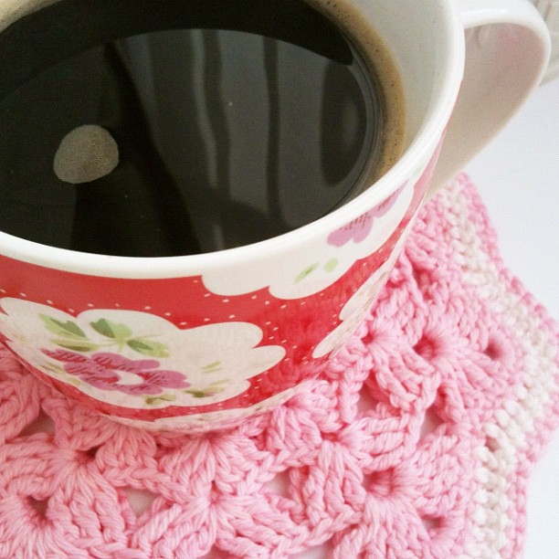 Cath kidston mug on crochet pot holder