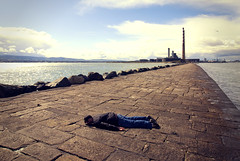 FDT #7 (Paul O' Connell) Tags: travel ireland sea people dublin selfportrait male docks canon fun photography funny alone harbour humor surface humour eire minimal problem coastal ontheground mischief bizarre powerstation poolbeg sandymount fallingdown fallingover irishsea facedown dublinbay southwall dublincity planking hitthedeck onemanonly pauloconnell irelanda fdt planker irishphotographer dublinlandmark thepigeonhouse dublinrepublicofireland facedowntuesday