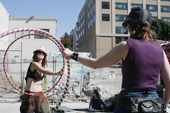 Hoola Hoop Girls (shaire productions) Tags: sf sanfrancisco street city people urban motion streets girl smile smiling festival lady female costume movement image candid event hoolahoop imagery