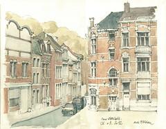 Liège, rue Vivegnis (gerard michel) Tags: architecture sketch belgium aquarelle watercolour liège croquis