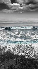 Sedimentary (Spencer Purkiss) Tags: wood blue sea sky white holiday seascape black color colour tourism beach water