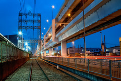 Railroads and Highways (arcreyes [-ratamahatta-]) Tags: longexposure industry japan night landscape highway smoke machine clear  lighttrails bluehour industrialpark kawasaki      facotry kanagawaprefecture  ukishima  elevatedexpressways agustinrafaelreyes
