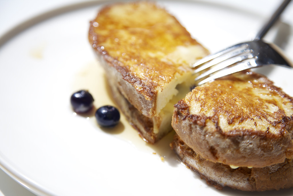 gouda & blueberry stuffed french toast with maple syrup