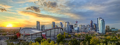 Calgary Sunset (Darryl Renyk Photography) Tags: blue sunset canada calgary skyline saddledome downtown hdr