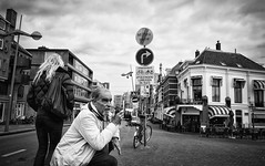 The City (Daan L) Tags: street city urban white black holland monochrome digital mono leiden noir 4 may nederland metropolis gr nl mei schwartz zwart wit weiss iv blanc ricoh stad 2012 straat absorption 071 dutch thenetherlands richohgrdigitaliv
