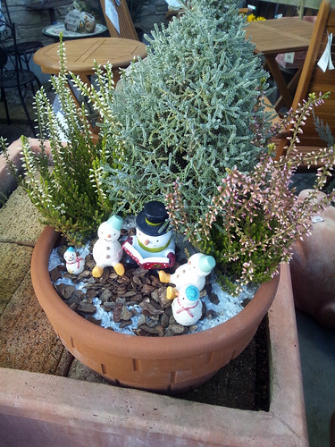 ほのぼのとする雪だるまの読書会を表現した鉢植えと題した写真
