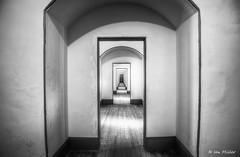 On The Run (Ian P. Miller Photography) Tags: sanfrancisco california bw white black lines dark interior side pinkfloyd hallway goldengatebridge bayarea fortpoint presidio hdr ggb