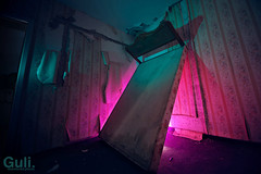 Sun Ring sunset (Guli.lt) Tags: pink blue color green abandoned ice hotel bed sofa armchair lithuania vilnius lietuva lightpaint saules bugart viesbutis ziedas apleistas simonassileika donataszvirblis tadasbaltrusaitis