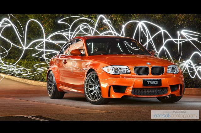light orange sports car night painting nikon long exposure twin super m turbo leon bmw 135 coupe 1m turbocharged twd sidik d7000