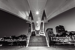 Stairs of Art (CJ Schmit) Tags: longexposure urban usa monochrome wisconsin stairs canon evening downtown unitedstates entrance calatrava milwaukeeartmuseum milwaukee f22 mam toned shutterdrag quadraccipavilion urbannight burkebrisesoleil starlights canonef1740mmf40lusm 5dmarkii canon5dmarkii cjschmit wwwcjschmitcom niksilverefexpro2 cjschmitphotography titaniumtoned