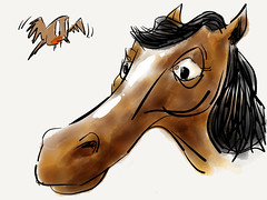 Horse and friend (raccuia) Tags: sketch cartoon ipad paperapp