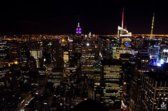 Top of the Rock at Night (dkshots) Tags: new york nyc newyorkcity ny newyork building rock night observation nbc lights exposure view state top manhattan lunchtime deck observatory empire empirestatebuilding artdeco ge atnight letterman topoftherock skycraper generalelectric observationdeck gebuilding ebbets