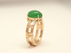 翡翠(ひすい)のリング   Jadeite Ring (jewelrycraft.kokura) Tags: diamond 指輪 リフォーム yellowgold jadeite 翡翠 ダイヤモンド k18 ヒスイ ダイヤ ゆびわ イエローゴールド ひすい テーパーダイヤ 18金