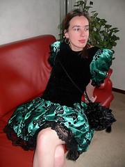 Gorgeous girl (Paula Satijn) Tags: cute sexy green girl beauty shiny dress legs lace skirt satin silky classy elegance