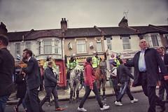 Green Street before West Ham's last game at the Boleyn Ground (Herschell Hershey) Tags: horses london football riot helmet police east mounted fans futebol ee westham uptonpark boleyn boleynground whufc
