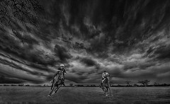 Two riders were approaching, the wind began to howl. (bainebiker) Tags: uk horses monochrome field countryside stormy lincolnshire hdr skyclouds horseriders langtoft canonef24mmf14liiusm turbulentweather