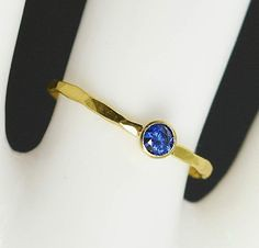 Dainty Solid 14k Gol (alaridesign) Tags: by real gold band september ring mothers 14k dainty solitaire solid sapphire birthstone 3mm alaridesign