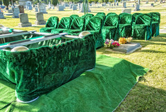 GOODBYE IN GREEN VELVETEEN (akahawkeyefan) Tags: green cemetery grave chairs fresno seats markers davemeyer
