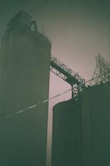 (Ali Seglins) Tags: city sky urban toronto ontario canada tower mill film night analog 35mm dark gold iso200 kodak district canona1 kingstreet distillery aliseglins