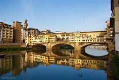 Ponte Vecchio, Florence, Italy (GSB Photography) Tags: firenze bridge span arnoriver 1345 medieval stone shops culture icon italy water flow city reflection goldenhour history historical 100v10f 250v10f 500v20f 1000v40 1500v60f 3000v120f shiningexcellence 100favorites 200favorites nikon d60 300favorites 50favorites 150favorites qualitystructuresppf 301