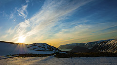 as the sun settles over Iceland's Westfjords (lunaryuna) Tags: sunset sky panorama sun snow ice nature beauty clouds season iceland spring solitude sundown dusk fjord wilderness lunaryuna stillness cloudscape nightfall westfjords mountainrange highplateau arnarfjordur northwesticeland lightmood seasonalwonders