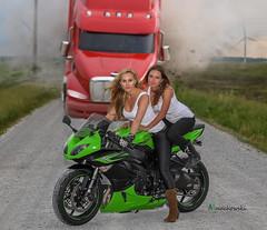 Kasia & Madzia (Adam Machowski) Tags: girls woman girl beautiful beauty fashion bike lady truck model women makeup truckstop blond blonde motorcycle perfectview