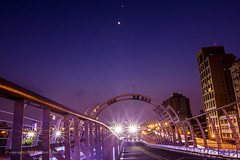 Moon, Jupiter and Venus  (Sharleen Chao) Tags: longexposure moon night cityscape venus nightshot taiwan clear taipei nightscene bluehour jupiter  astrology afterglow