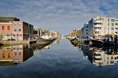 Canal reflections (The Nature Guy) Tags: reflection water netherlands landscape boat canal leiden nikon vehicles filters barge lenses ndgradfilter d7000 nikkor1024f3545gdxed