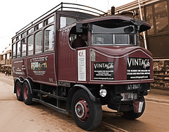 Whitby Steam Powered Omnibus (Goth Weekend Apr' ) (Beachcomber ( By The Bay )) Tags: street beach festival photoshop photography eos mono coast seaside interesting north transport goth arcade 19thcentury perspective victorian exhibit steam event coastal vehicle corset coastline northeast seashore period edwardian fascinating powered steampunk northeastcoast bythesea calmsea seasides whitbygothweekend coastallife 450d newbigginphotographygroup photoshopelements80 beachcomberbythebay