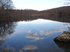 At Berry Pond. (MTBradley) Tags: sky reflection water clouds geotagged ma us unitedstates nubes lanesboro taconics berrypond pittsfieldstateforest reflajo
