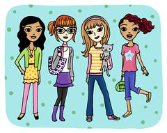 some cute girls... (lizin8or) Tags: girls cute art illustration cat friend colorful friendship teen tween bff lizadams