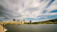 A Cloudy Day (JJide) Tags: longexposure storm motion skyline clouds river boats long exposure downtown day pittsburgh cityscape cloudy bridges tokina pa allegheny 1116mm d7000