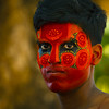 Man With Traditional Makeup On His Face For Theyyam Ceremony, Thalassery, India (Eric Lafforgue) Tags: voyage travel shadow red portrait india man color colour face horizontal blackbackground eyes religion culture makeup dancer sweat tradition maquillage indien couleur homme inde southindia onepeople headdress oneman danseur fondnoir theyyam coiffe 2667 indianpeople lafforgue ericlafforgue unhomme traditionalcostum costumetraditionel indedusud thallichery thallicherry