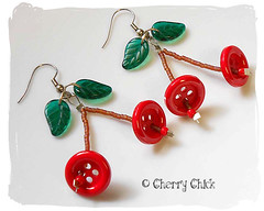 Cherry Button Earrings (Cherry Chick Jewelry) Tags: red cherry cherries buttonearrings cherryearrings beadedearrings cherrychickjewelry